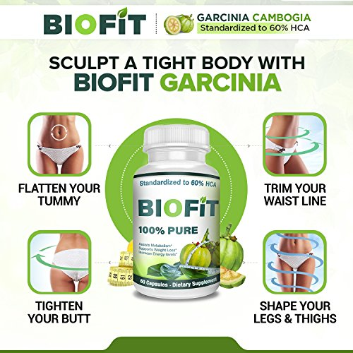 BioFit- 100% Pure Garcinia Cambogia- Standardized to 60% HCA - 60 Capsules- Assists Metabolism Acceleration- Increase Energy- Melt Fat Faster- Diet Supplement For Men and Women by BioFit