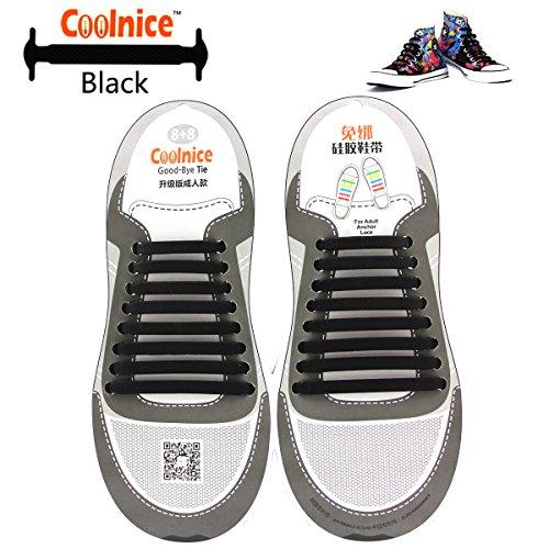 Coolnice de Cordones Elásticos para adultos y niños - ambientalmente seguro a prueba de agua Black