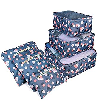 Packing Cubes, [6 PCS] TERSELY Waterproof Travel Luggage Organizer Suitcase Storage Bags,3 Travel Cubes + 3 Pouches Clothes Suitcases Organisers Bag (Blue Flower)