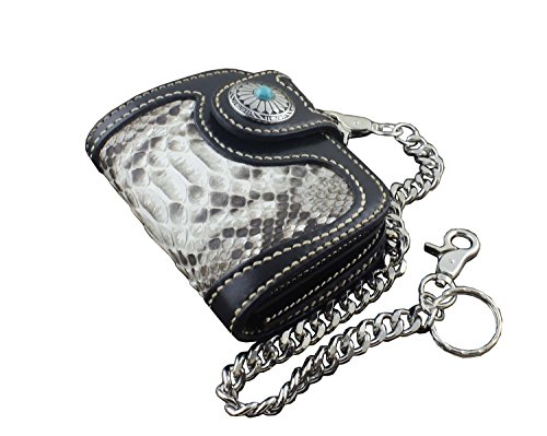Biker Real Wallet with Leather Skin Short Handmade chain Snake Purse Vintage n6q0EBA