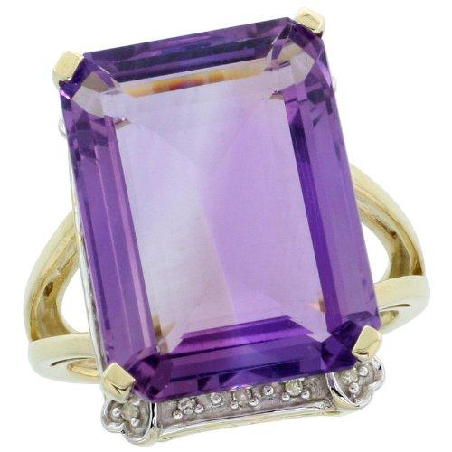 - 10k Gold Large Stone Rectangular Ring, w/ 0.07 Carat Brilliant Cut Diamonds & 15.17 Carats (18x13mm) Emerald Cut Amethyst Stone, 3/4 in. (18mm) wide, size 7.5