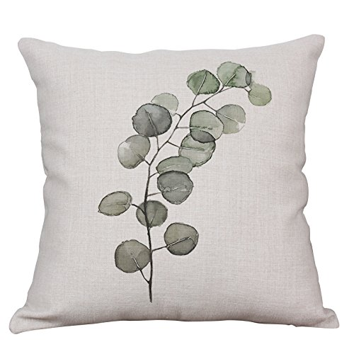 Green Fern Leaf Throw Pillow Covers Decorative Cushion Covers Square Cotton Linen Outdoor Couch Sofa Home Pillow Covers 18x18 Inch