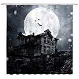 BCNEW Halloween Shower Curtain Decor, Night Round Moon Snow Crows Wood House Rock, 70 x 70 Inches Waterproof Mildew Resistant Polyester Fabric Machine Washable with 12pcs Hooks