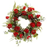 Pack of 2 Red Geranium Flowers with Ivy and Fern Leaves Decorative Artificial Wreaths 24""