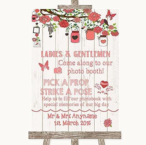 Wedding Sign Poster Print Rustic Floral Wood Pick A Prop