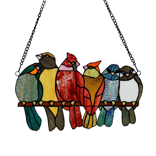 stained glass birds window panel - 4