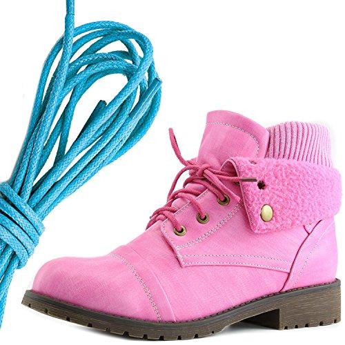 Dailyshoes Womens Boot Style Lace Up Maglione Stivaletto Alla Caviglia Con Taschino Per Porta Carte Di Credito Tasca Porta Soldi, Rosa Blu Pu