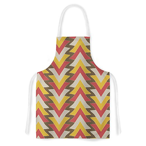"""UPC 735548096771, KESS InHouse Julia Grifol """"My Triangles in Red"""" Orange Brown Artistic Apron, 31 by 35.75"""", Multicolor"""