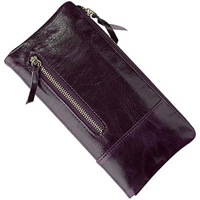 Yahoho Women's Soft Genuine Leather Organizer Wallet Zipper Pocket Card Phone Holder