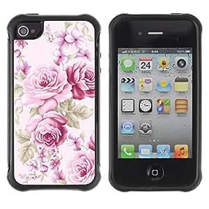 Híbridos estuche rígido plástico de protección con soporte para el Apple iPhone 4 / 4S - pink old vintage lady feminine