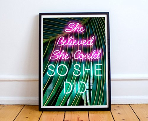 Inspirational Poster, 18 x 24 She Believed She Could So She Did, Neon Sign, Neon Lights, Inspirational Quote, Motivational Quote, Women Gift, Inspiring, UNFRAMED (Gifts Neon Sign)