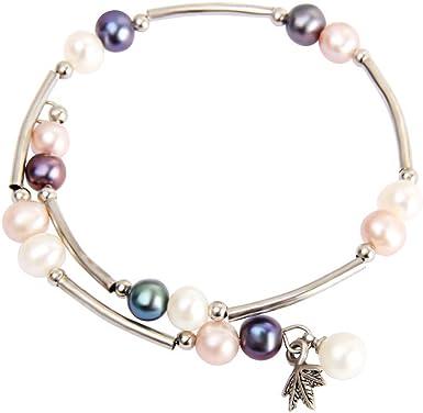 Beaded Pearl Strand Bracelet for Women and Girls in White//Purple Pearl AIM Jewelry Cultured Genuine Freshwater Pearls Bracelet Adjustable Bangle Wrap Bracelet