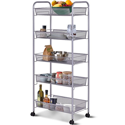 Giantex Storage Rack Trolley Cart Home Kitchen Organizer Utility Baskets (5 Tier, Silver)