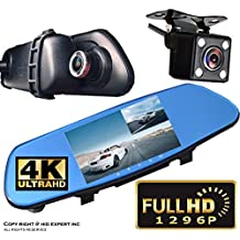"5"" Monitor 4k Ultra HD High Def 1296P Front Back Car Camera Blue Tint Interior 300mm Rearview Mirror Mini SD Slot"