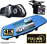 ICBEAMER 5'' Monitor 4k Ultra HD High Def 1296P Front Back Car Camera Blue Tint Interior 300mm Rearview Mirror Mini SD Slot