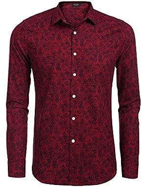 Men's Fashion Print Casual Long Sleeve Button Down Shirt