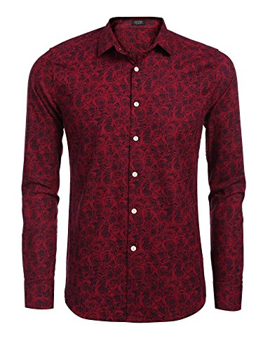 Paisley Design Shirt (Coofandy Men's Fashion Print Casual Long Sleeve Button Down Shirt Red Large)
