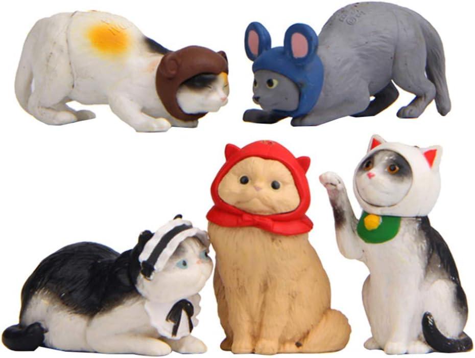 Garneck 5Pcs Mini Cat Toy Figures Miniature Cat Figurines Micro Kitten Landscape Mini Garden Animal Ornaments For Cake Decoration Micro Landscape
