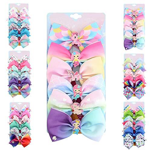 [6-Pack] 5 Inch Cute Mermaid Unicorn Rainbow Colorful Hair Bows Clip Accessories for Toddlers Girls (Mermaid Series-B)]()