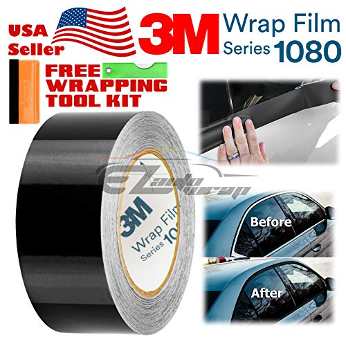 EZAUTOWRAP Free Tool Kit 3M 1080 Gloss Black Vinyl Wrap Kit for Black Out Chrome Delete Window Trim Door Trim 2