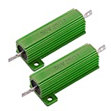 URBEST 2PCS Aluminum Case 50W Watt 25 Ohm Chassis Mounted Wirewound Resistor for Transducer, Elevator, Arena Audio