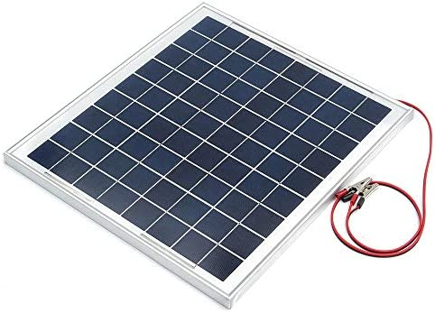 Candicely Sonnenkollektor 12V 10W Solar Panel Aluminium Rahmen Polykristalline Solar-Panel mit Junction Box (Color : Black, Size : 10W)