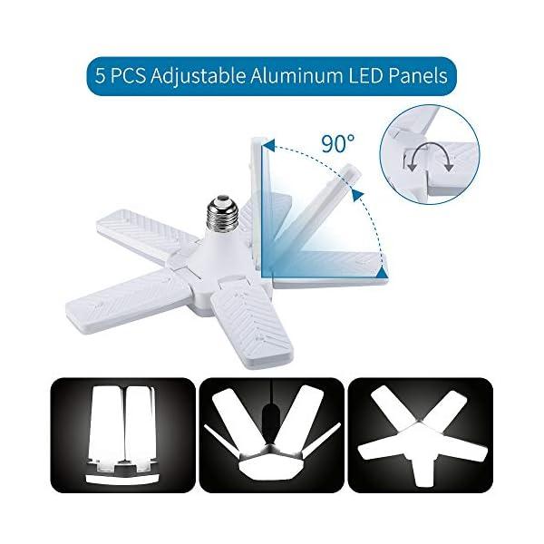 ALOVECO LED Garage Lights, LED Garage Ceiling Lights 60W 6000LM, E26/E27,CRI 80, 6000K Daylight White with 5 Adjustable… 3
