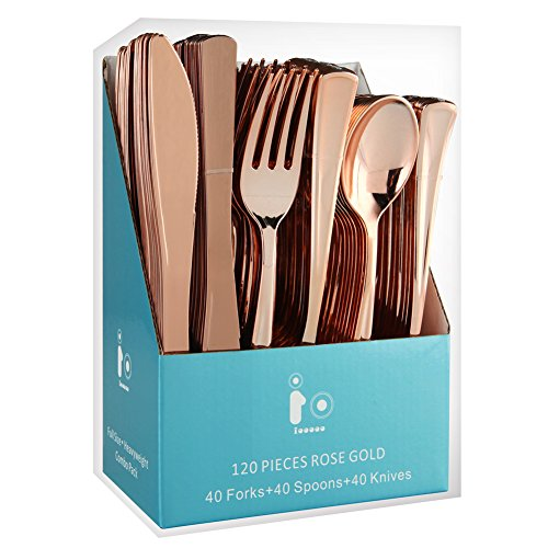 Plastic Silverware Set, Rose Gold Plastic Cutlery