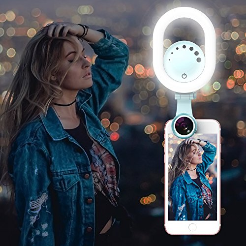Selfie Ring Light Phone Lens - Luxsure 135° Rotatable Lighting Kit w/Wide Angle Lens Macro Lens, 3 Modes, Compatible with iPhone Xs/X/MAX Samsung Most Smartphones