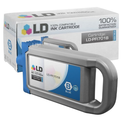 LD Compatible Ink Cartridge Replacement for Canon PFI-701B 0908B001AA High Yield - Ink Blue Pfi 701b