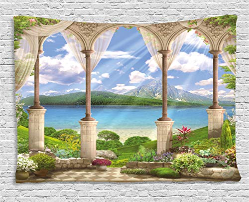 (Ambesonne Italian Decor Tapestry by, Old Ancient Stone Arch View The Sea Balcony Fresco Garden Plants Spiritual, Wall Hanging for Bedroom Living Room Dorm, 80 W X 60 L Inches, Multicolor)