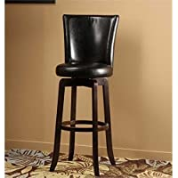 Bowery Hill 25 Faux Leather Swivel Counter Stool In Black