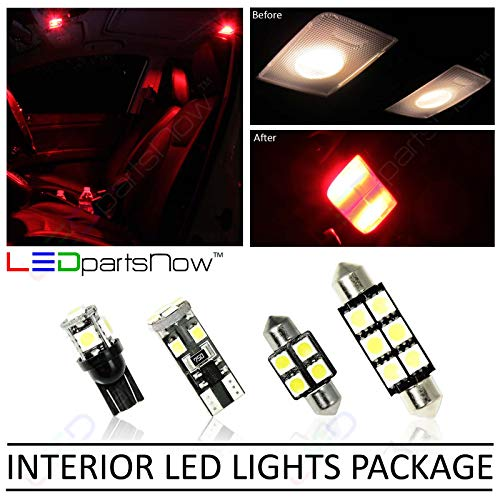 LEDpartsNow Interior LED Lights Replacement for 2007-2015 Jeep Wrangler JK Accessories Package Kit (5 Bulbs), RED