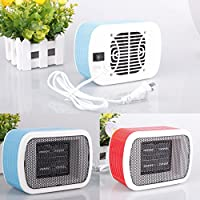 Sale! Portable Electric Fan Heater, Household Desktop Heating Fan, 220V 500W US Plug Ceramic Space Winter Warm Heater Home Appliance (blue)