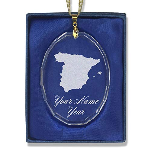 SkunkWerkz Christmas Ornament, Country Silhouette Spain, Personalized Engraving Included (Oval Shape) by SkunkWerkz
