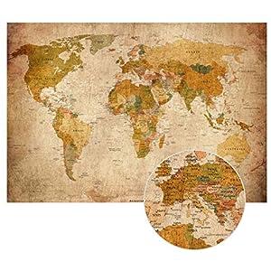 Correspondencia del Viejo Mundo en la mirada de la vendimia XXL mural en 140 cm x 100 cm imagen Decoración mapamundi pared retro HD pósters | Mapa de la pantalla mural antigua | + Calendario 2018