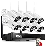 ZOSI 8 Channel NVR 960P High Definition Wireless WiFi Smart HD IP Home Video Security Camera System 100ft Night Vision Pre-Installed 1TB Hard Drive (Certified Refurbished)