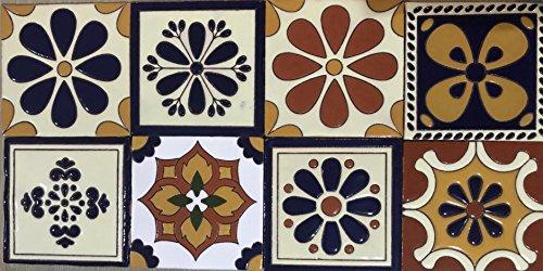 Talavera Ceramic Relief Mexican Tile 6X6, 8 Mixed Designs (NO Stickers) ()