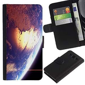 Paccase / Billetera de Cuero Caso del tirón Titular de la tarjeta Carcasa Funda para - Space Earth Sun Blue Planet Cosmos Star - Samsung Galaxy S3 III I9300