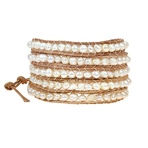 AeraVida Trendy Cultured Freshwater White Pearl Five Nude Leather Wrap Bracelet