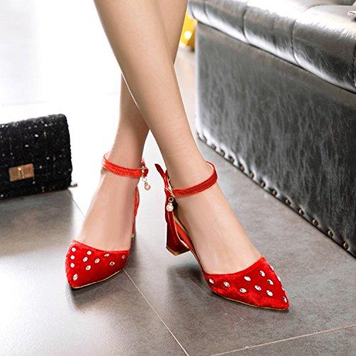 Sandals Elegante En Verano Hebilla Rojo High Tobillo Femenino Señaló Colores De Sandalias JUWOJIA Toe Rhinestone Heeled 7 Nuevo 4 AW7pg6OOH
