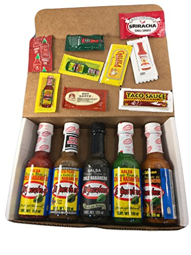 El Yucateco Habanero Hot Sauces Gift Set All (5) Sampler + 10 sample packets & Spic-C mints (Assorted, 5)