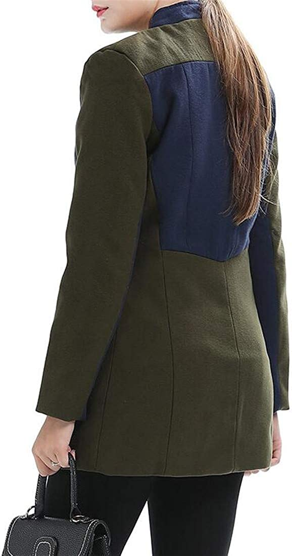 C/&H Women Outwear Zipper Slim Contrast Winter Pea Coat