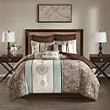 8 Piece California King Blue, Ivory & Taupe Comforter Set, Down Alternative Bedding Bedroom Set, Contemporary Style, Embroidered, Floral & Paisley Pattern, Microfiber Material, Machine Washable