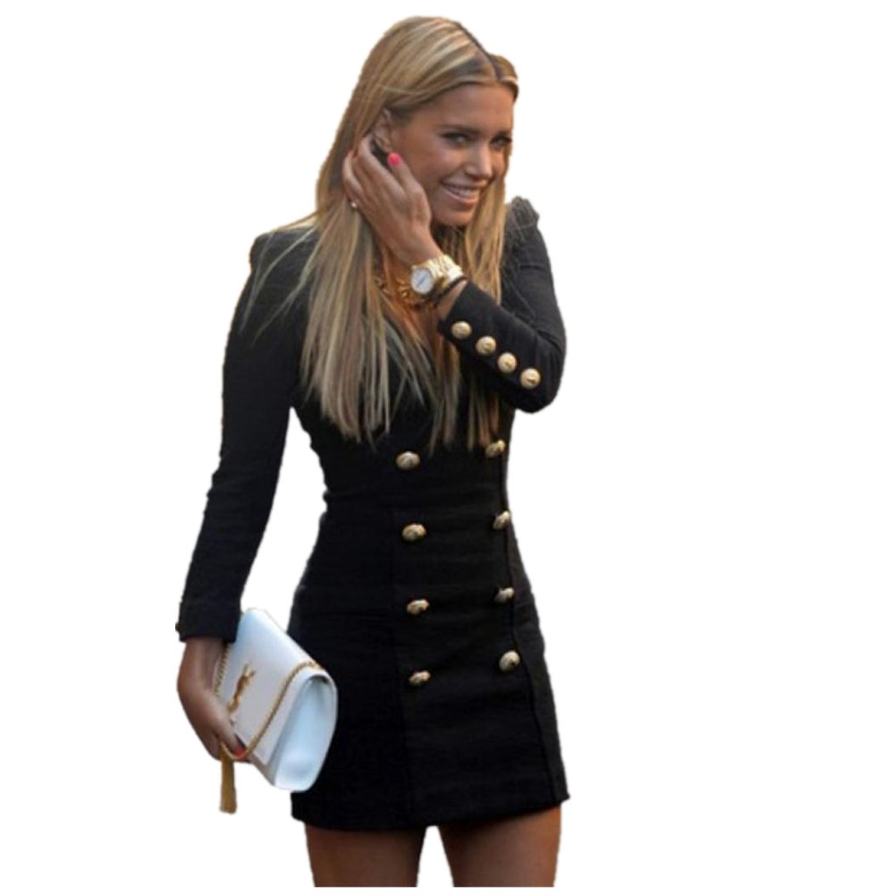 Gotd New Women Slim Long Sleeve Buttons Casual Bodycon Cocktail Mini Dress (S)