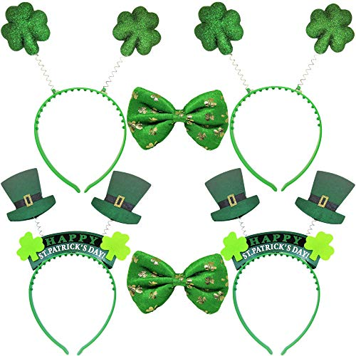 (ST PATRICK'S DAY 6 Pieces Set Party Favors Green Shamrock Bow Tie Irish Clover Boppers and Leprechaun Hat Headbands)