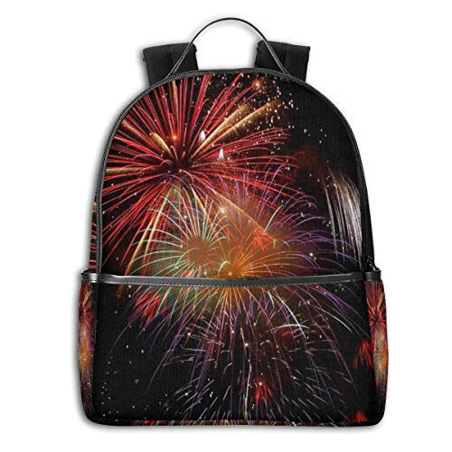 AFSpant Unisex Stylish Schoolbags, Laptop Backpack, Multifunction Durable Leisure College Student Daypack -Fireworks new years eve party
