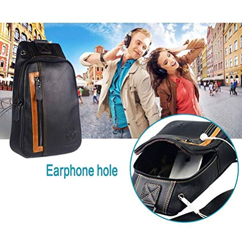 For Shoulder 1 Business Messenger Chest 3 Hiking Bag Sport Daypack Travel Men's Leather Black Casual Sling Black Genuine FpxYq8U