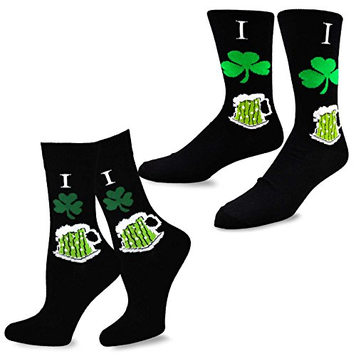 TeeHee St. Patricks Day Woman and Man Couple Cotton Crew Socks 2-Pack (I Shamrock Beer)Size 10-13