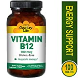Country Life Vitamin B-12 500 Mcg, 100-Count
